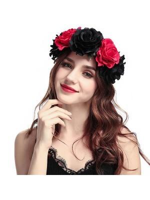 Beautiful Black & Red Mix Garland Flower Headband
