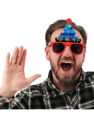 Blue Party Hat 'It's My Birthday' Red Frame Birthday Glasses