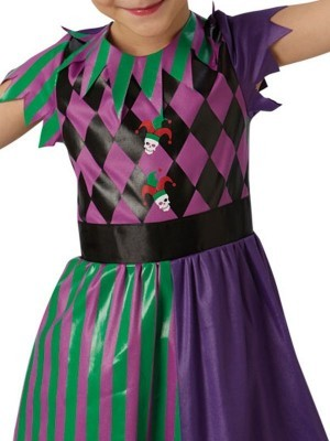 Kids Harley Quinn Jester Fancy Dress Halloween Costume