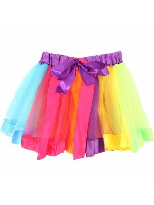 Kids Unicorn Rainbow Tutu With Ribbon Bow
