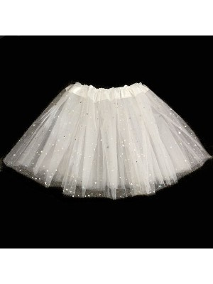 Kids - White Tutu with Shiny Silver Stars