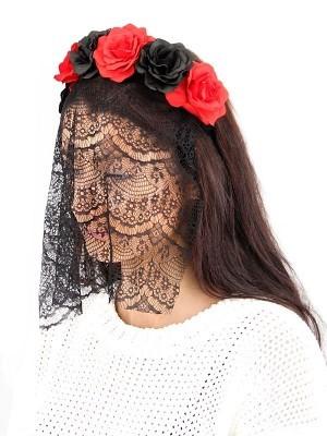 Black & Red Flower Crown With Veil