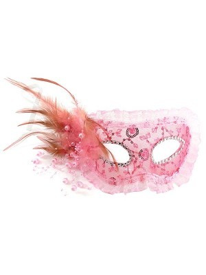 Lace Feathered Masquerade Mask in Pink