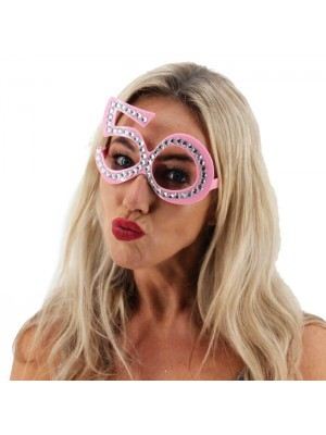 Light Pink '50' Birthday Shaped Diamante Sunglasses
