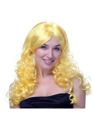 Long Wavy Yellow Wig