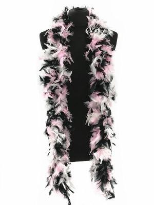 Luxury Liquorice Allsorts Mixed Pink, Black & White Feather Boa – 80g -180cm