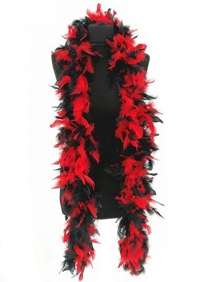 Luxury Mixed Red & Black Feather Boa – 80g -180cm