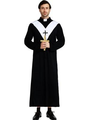 Male Black & White Priest Fancy Dress Costume – One Size
