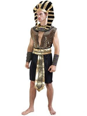 Male Luxury Black & Gold Egyptian Pharaoh Fancy Dress Costume – One Size