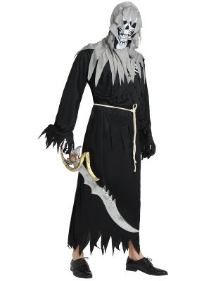 Male Skeleton Warrior Pirate Halloween Fancy Dress Costume – One Size