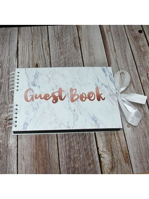 Good Size Marble Guestbook & Copper 'Guest Book' Message with Printed Pages