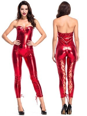 Metallic Red Devilish Shiny Jumpsuit Sexy Halloween Fancy Dress Costume – UK 8