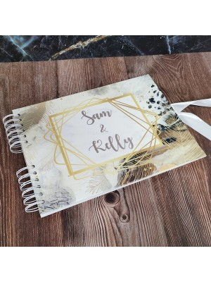 CUSTOM Modern Nature Golden Leaves Guestbook with Different Page Style Options