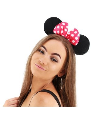Mouse Style Ears and Hot Pink Spotty Bow
