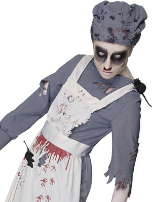 Mrs Murderous Maid' Women's Zombie Maid Halloween Fancy Dress Costume Dress