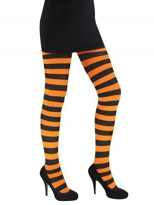 29999f585bf3a Adult Orange and Black Striped Tights