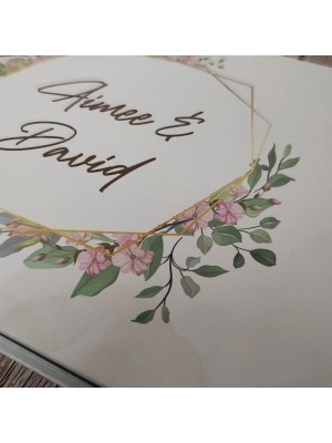 CUSTOM Cherry Blossom Gold Frame Guestbook with Different Page Style Options