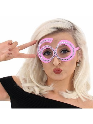 Pink '60' Birthday Shaped Diamante Sunglasses