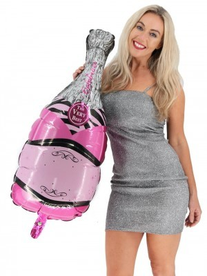 Giant Pink With Silver Champagne Bottle Balloon