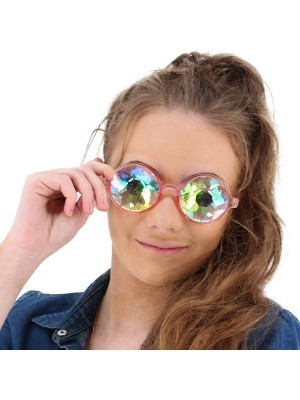 Pink Framed Dizzy Eye Kaleidoscope EDM Fun Party Happy Glasses