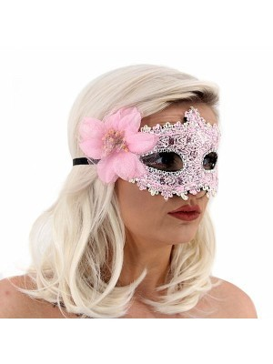 Elegant Lace Floral Masquerade Mask In Pink