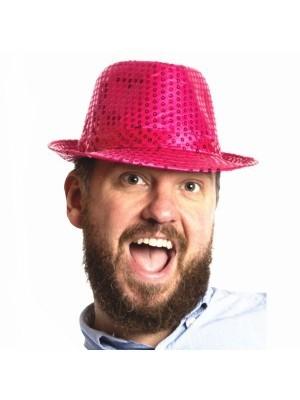 Super Cool Pink Sequin Gangster Hat