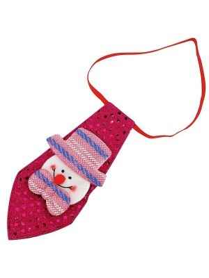 Pink Sequin Snowman Christmas Light Up Tie