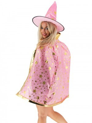 Wizard Witches Hat & Cloak Set In Pink