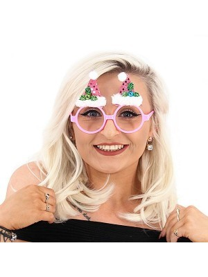 Pink Circle Sunglasses With Santa Hats