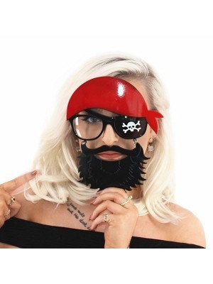 Pirate Eye Patch Glasses With Beard
