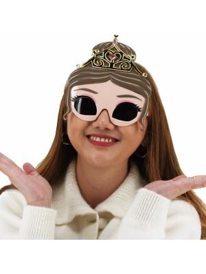Pretty Eyelash with Gold Tiara Princess Glasses