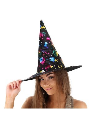 Shimmery Rainbow & Black Wizard & Witches Pointed Hat Halloween Fancy Dress Accessory