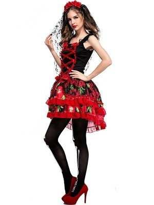 Red and Black Floral Day of the Dead Women's Halloween Fancy Dress Costume