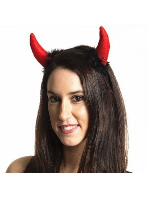 Felt Black and Red Devil Horns