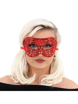 Shiny Butterfly Masquerade Mask in Red