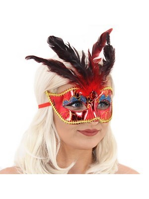 Burlesque Style Feathered Masquerade Mask in Red