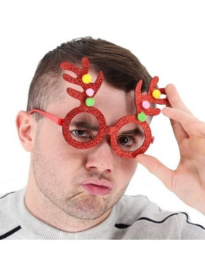 Red Glitter Reindeer Antlers Christmas Glasses
