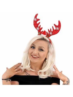 Red Glitzy Reindeer Antlers Christmas Headband