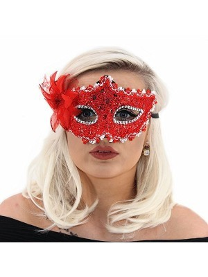 Elegant Lace Floral Masquerade Mask In Red