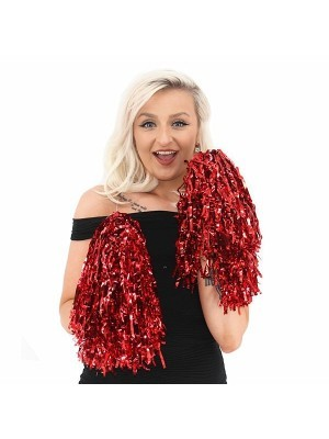 Set Of 2 Glitzy Cheerleader Pom Poms In Red