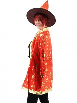 Wizard Witches Hat & Cloak Set In Red