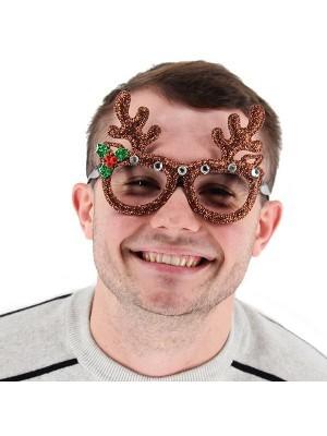 Reindeer Antlers Glitter Christmas Glasses