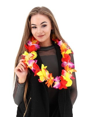 Rainbow Hawaiian Flowered Party Lei