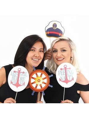 20pc Nautical Navy Sailor Photo Booth Selfie Props on Sticks