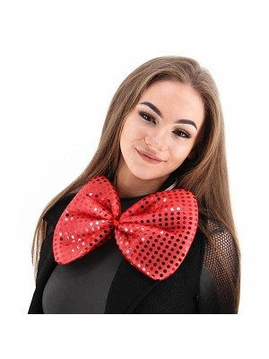 Giant Sequin Bow Tie in Red