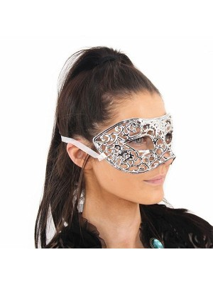 Shiny Butterfly Masquerade Mask in Silver