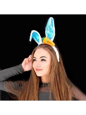 Shiny Carrot Easter Bunny Ears Headband In Blue