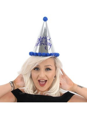 Dark Blue & Silver Holographic 'Happy Birthday' Paper Hat