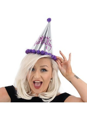 Purple & Silver Holographic 'Happy Birthday' Paper Hat