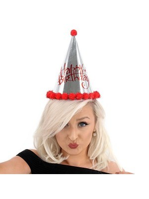 Red & Silver Holographic 'Happy Birthday' Paper Hat